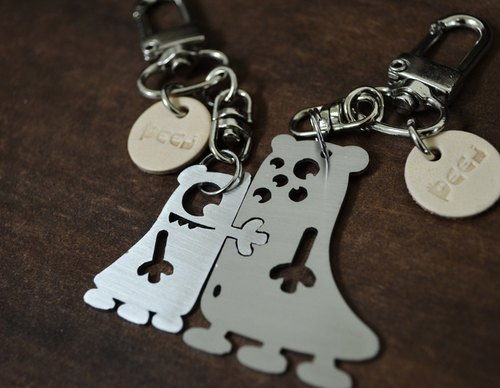 A Cute Couple      Stainless Steel Keychains (set) Valentine's Day