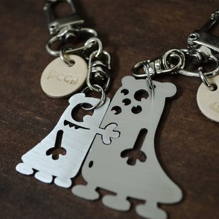 """A Cute Couple""  Stainless Steel Keychains (set) Valentine's Day"