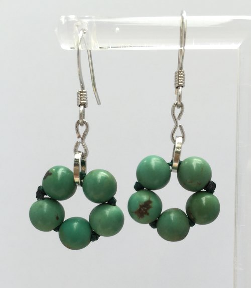 * Fashion generous gift of choice * E0332 - natural stones rosette earrings - turquoise