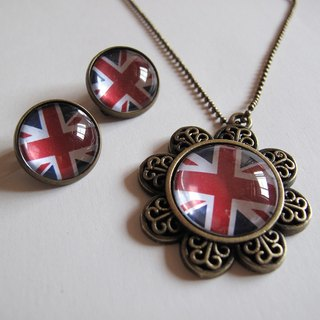 British flag necklace ear clip ear acupuncture group