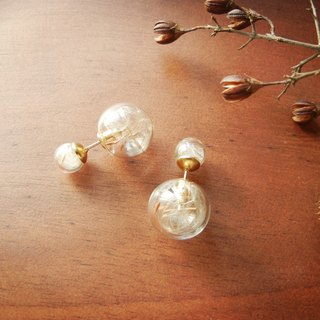 *coucoubird*Double Sided Glass Ball Earrings - Dandelion (single)