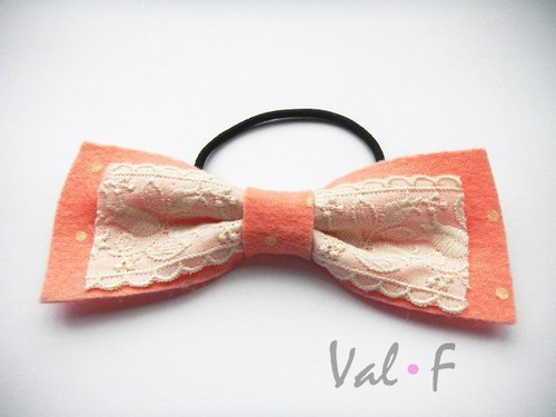 Val‧F for kids hair accessories bow Bulei Si powder orange rubber band Hands design little Talasite