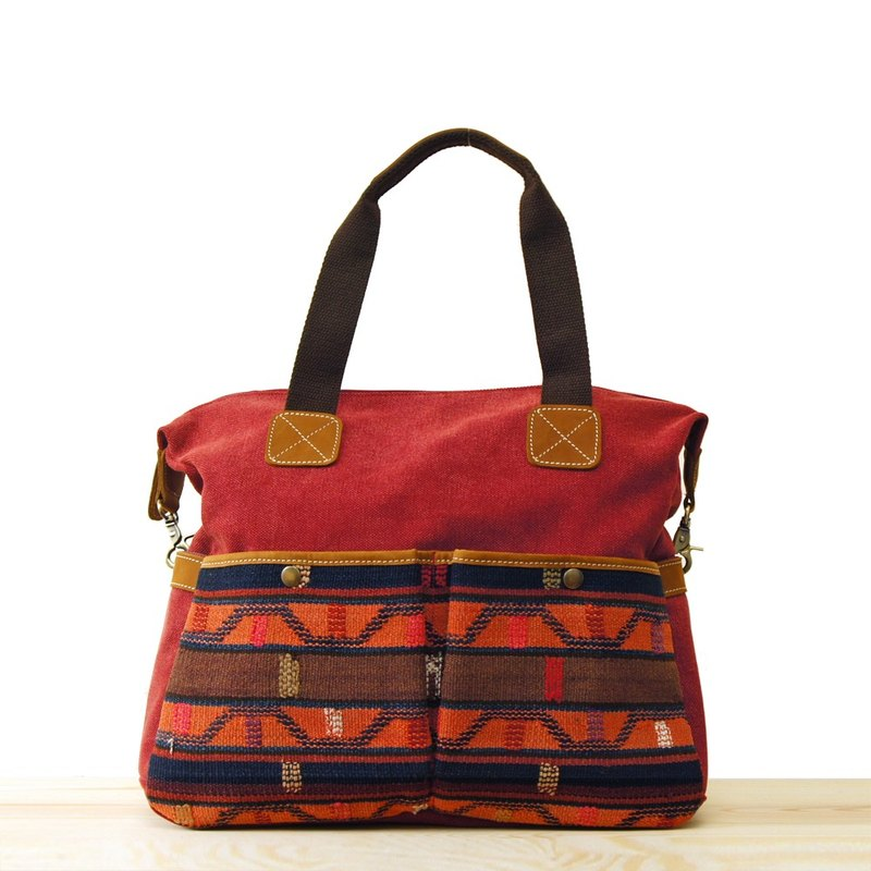 [Happa] whims large capacity tote bag - Hand knotted kilim paragraph (Wine Wine Red) to exchange gifts Required