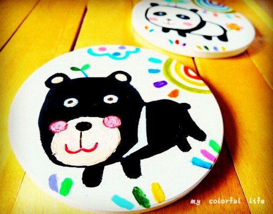 【Pure hand-painted】 absorbent ceramic coasters | small lion | lovely wind