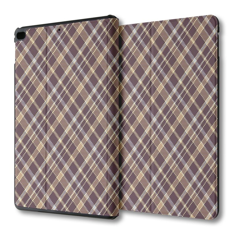 AppleWork iPad mini 1/2/3/4 multi-angle flip leather coffee Plaid PSIBM-004Y