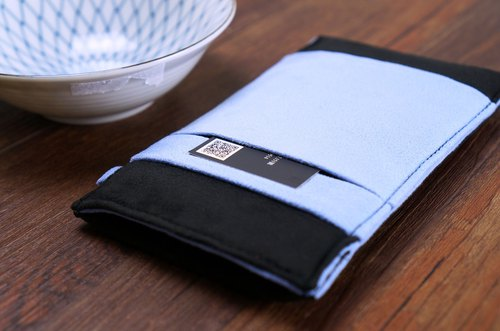 OM【BLACK X TRANQUIL BLUE】ONOR CLEANING-FIBER CELL PHONE POUCH