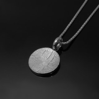 ReShi / simple fingerprint wafer single fall (without chain) / 925 sterling silver / fingerprint silver / custom handmade / Valentine's family gifts