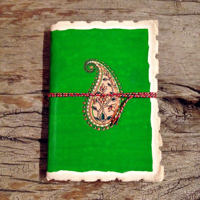 ♣India Handmade Leather Journal-Paisley Pattern