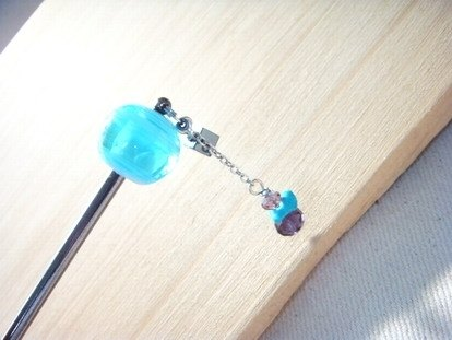 Grapefruit handmade glass - hairpin - classic mix color (shallow blue)