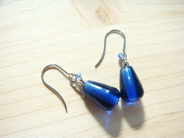 Grapefruit Forest Handmade Glass - Joker Glass Earrings Series - Deep Blue Droplet (Clip-changeable)