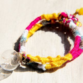 / Forest girl / English minimalist glass ball knitting wool laps bracelet - Dandelion Forest