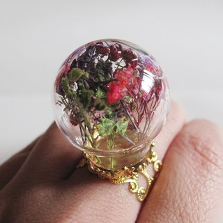 Withhold you / u {} dream dried flower glass ball ring