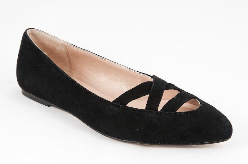 Coco-002m-02 黑色絨布交叉尖頭平底鞋