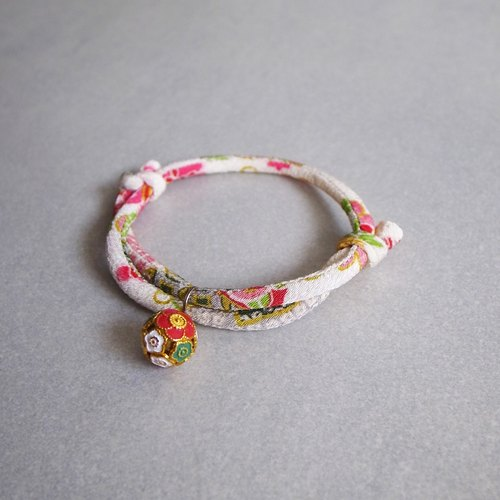 Japanese kimono dog collar & cat collar【Adjustable】White_S size