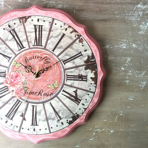 Wood Rose Garden of Love at first sight] clock retro wall clock