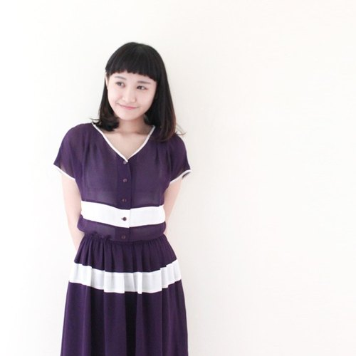 [RE0326D132] Great simple loose stitching Zibai vintage dress - Special