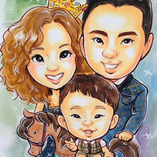 Appearance _ watercolor hand-painted cartoon portrait _ family portrait custom portrait (by head billing)