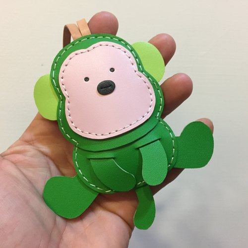 Handmade leather} {Leatherprince Taiwan MIT cute green monkey hand sewn leather strap / Kelvin the Monkey leather charm in Green (Large size / large size)
