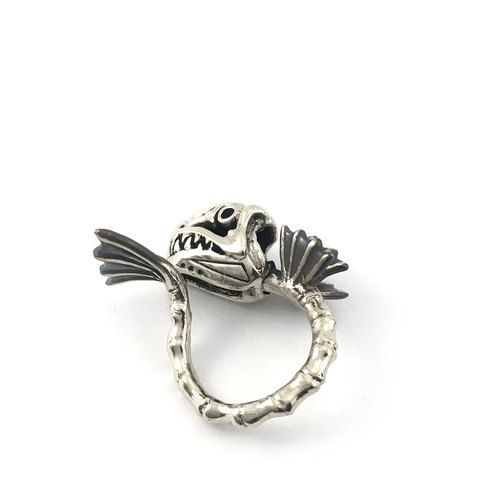 Zodiac Fish bone ring is for Pisces in white bronze and oxidized antique color ,Rocker jewelry ,Skull jewelry,Biker jewelry
