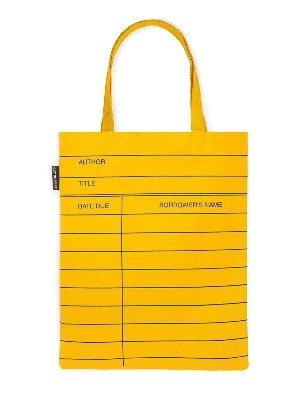 Library card shopping bag. yellow