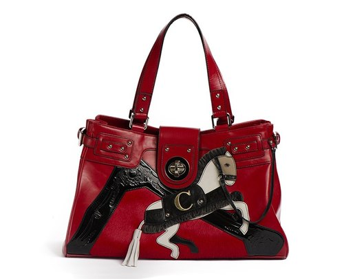 Angel's garden Kama Soto series of hand-pony bag dazzling red dorsal hand rivet zipper