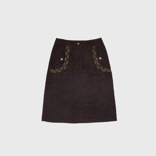 │moderato│ embroidery totem College Wind woolen skirt │ retro girl young artists.