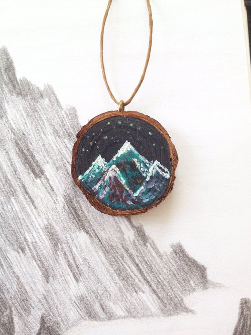 Small heart painted | wood and mountains | painted | necklaces