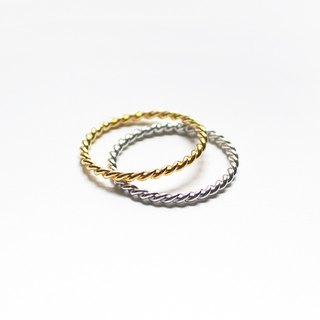 Combination Series - Sterling Silver Twist Ring Set / Silver & Gold