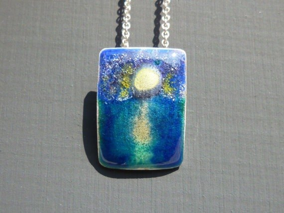 Moonlit Night Over the Sea // Enamel on 999 Fine Silver Pendant
