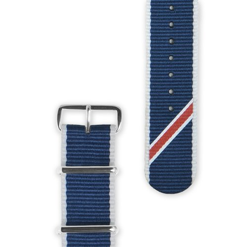 HYPERGRAND - Straight Jacquard Blue Strap 20mm Blue Twill Strap (Silver Buckle)