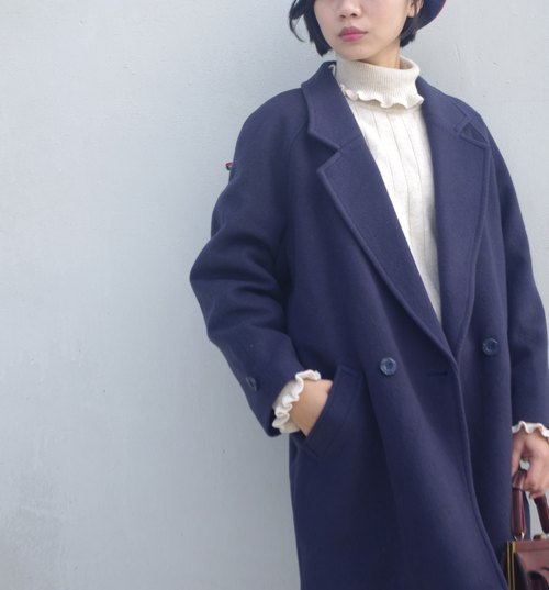 4.5studio- vintage Japanese treasure hunt - French blue wool coat sleeve Lackland
