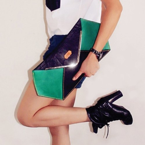 Hexagon green leather clutch