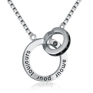 Hong Kong Design 925 sterling silver necklace Platinum Couple (Men) French Forever Love black zircon