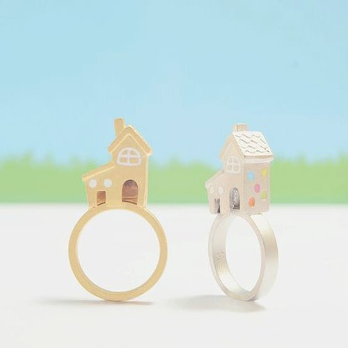 Small Polka Dot House Ring, Tiny House Ring, House Ring, Little House Ring