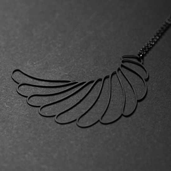 Black wings necklace Black Wing Pendant (L)