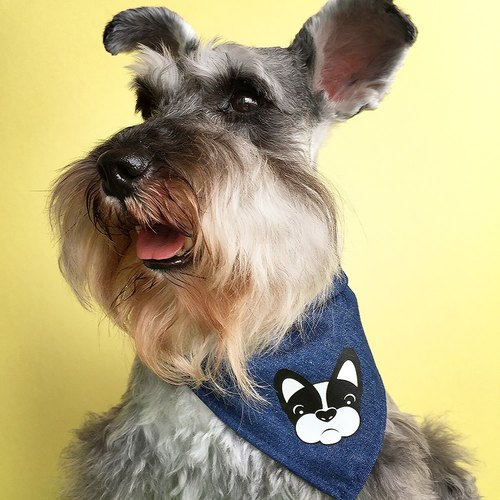 FRENCHIE 2016 New Design High Quality Pet Cotton Square Fold Knot French Bulldog Bandana Collar Tie Scarf Neckerchief Blue