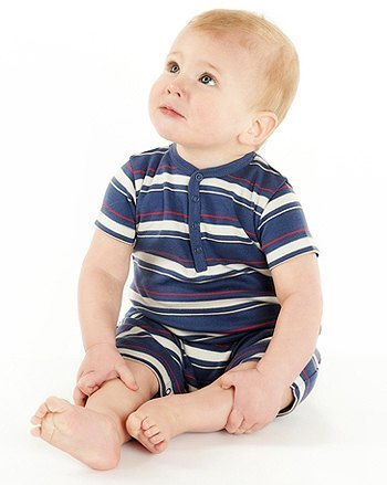 Nosilla Organics - Baby boy Romper (warships blue and gray stripes)