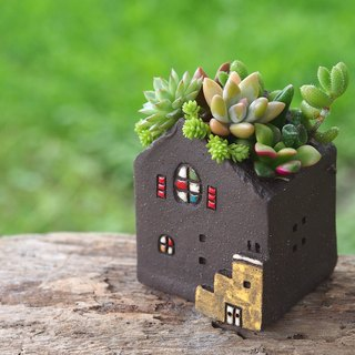 [Garden Cottage Garden] Tao hand-made - super cute little painted floor garden (S) / rock Black / Ceramic House