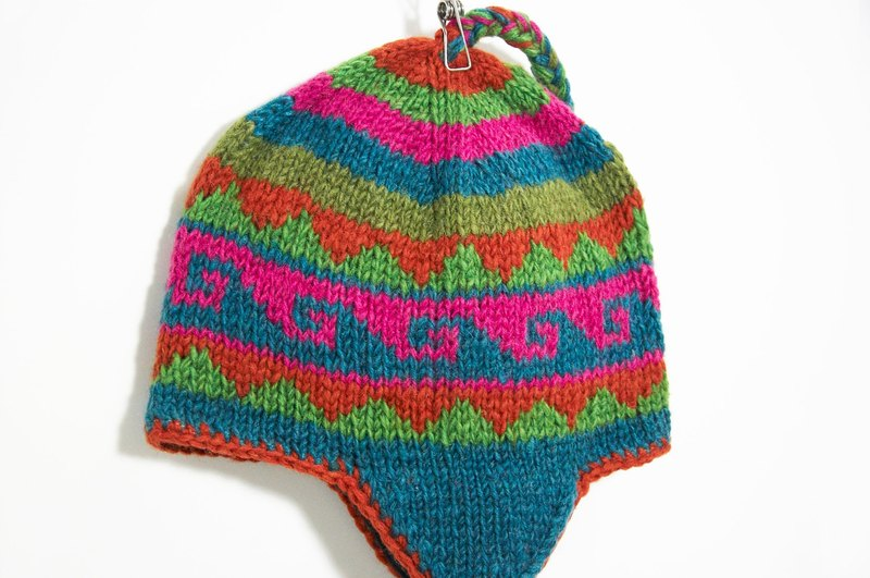 Valentine handmade knit wool hat / hand-knit cap within the bristles / flight caps / knitting caps / wool hat - pink geometric patterns Wind Eastern Europe (handmade limited one)