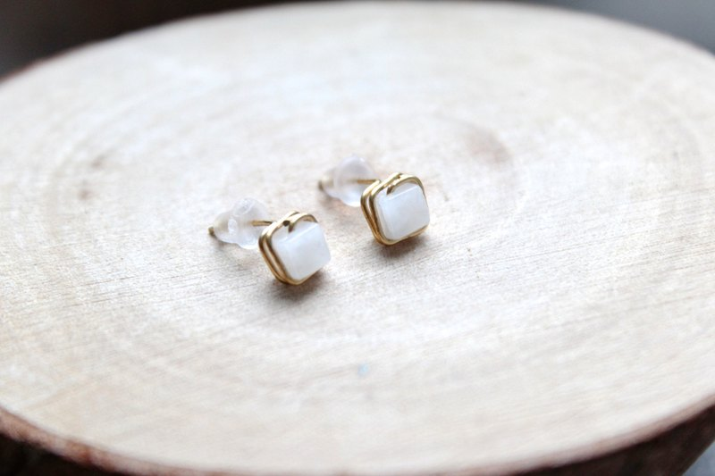 【White agate】classic earring  Sugar series (Customizable clip-on)