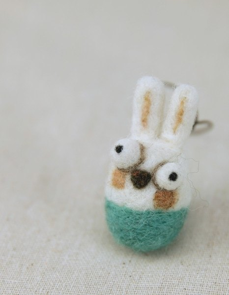 Woolbuddy - Handmade Mini Rabbit (cell phone charm/key) (Green Lake/White)
