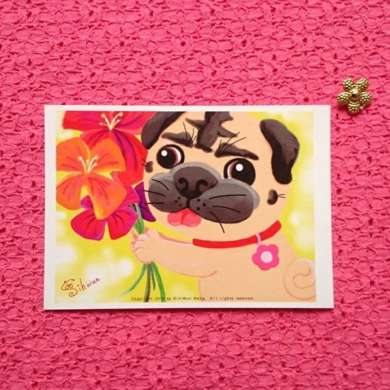Pug Postcard-Flowers for you.
