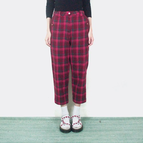 Dark plaid wool vintage high waist trousers AJ1016
