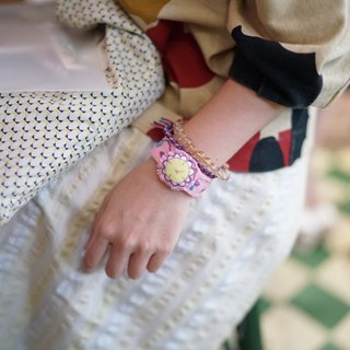 Hand made embroidery color fake watch bracelet jewelry pink