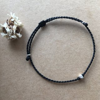 ~ M + bear ~*simple*black simple fine bracelet 925 sterling silver Japanese wax line
