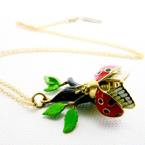 Ladybug branch pendant in brass and enamel color ,Rocker jewelry ,Skull jewelry,Biker jewelry