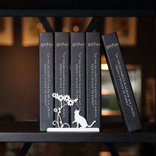 [OPUS Dong Qi Metalworking] European Iron Bookends / Creative Bookshelf / Metal Book Holders / Christmas Exchange Gifts / Stationery Decorations / Mother's Day Gifts / Graduation Teacher's Gifts (Cat-Elegant White)