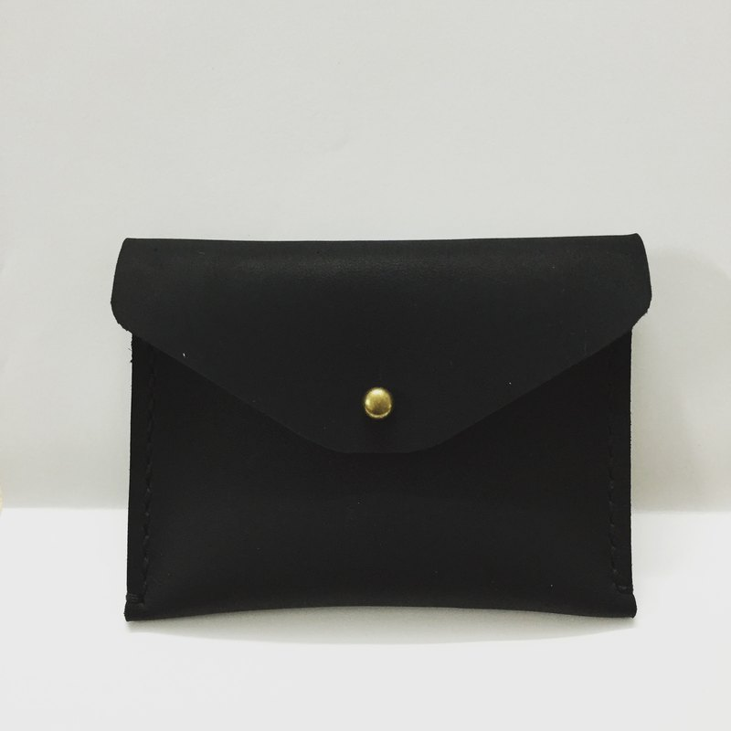*Mingen'Handiwork*Original hand-sewn first layer of black leather retro European and American retro leather card case