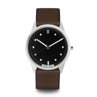 HYPERGRAND - 01 Basic Series - Silver Black Dial Brown Leather Watch