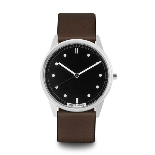 HYPERGRAND - 01 basic models series - silver black dial brown leather watch